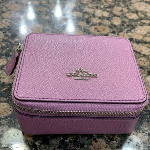 COACH METALLIC PURPLE LEATHER JEWELRY BOX